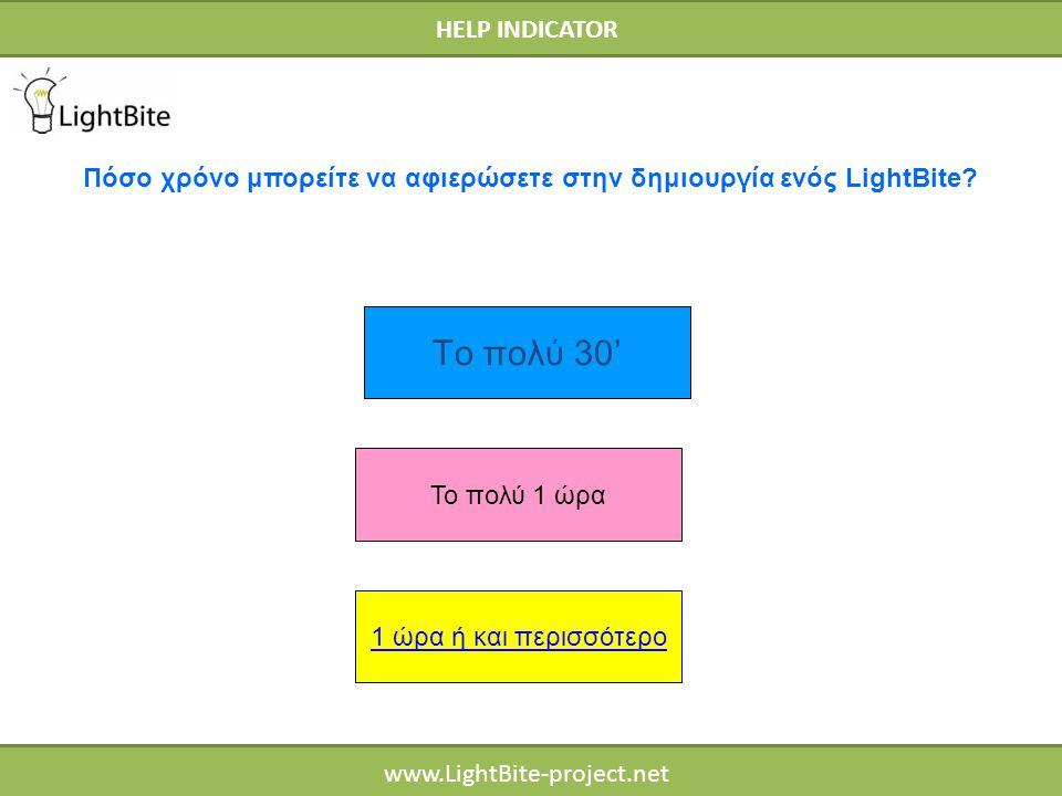 HELP INDICATOR www.LightBite-project.net Το πολύ 1 ώρα 1 ώρα ή και περισσότερο Πόσο χρόνο μπορείτε να αφιερώσετε στην δημιουργία ενός LightBite? Το πο