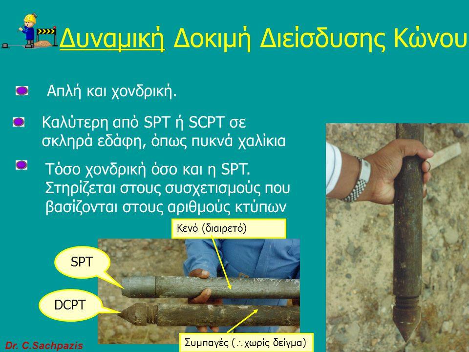 Dr. C.Sachpazis 28 Δοκιμή Διείσδυσης Κώνου (CPT) Δυναμική Δοκιμή Διείσδυσης Κώνου (DCPT) Στατική Δοκιμή Διείσδυσης Κώνου (SCPT) Κλειστό άκρο. Χωρίς δε