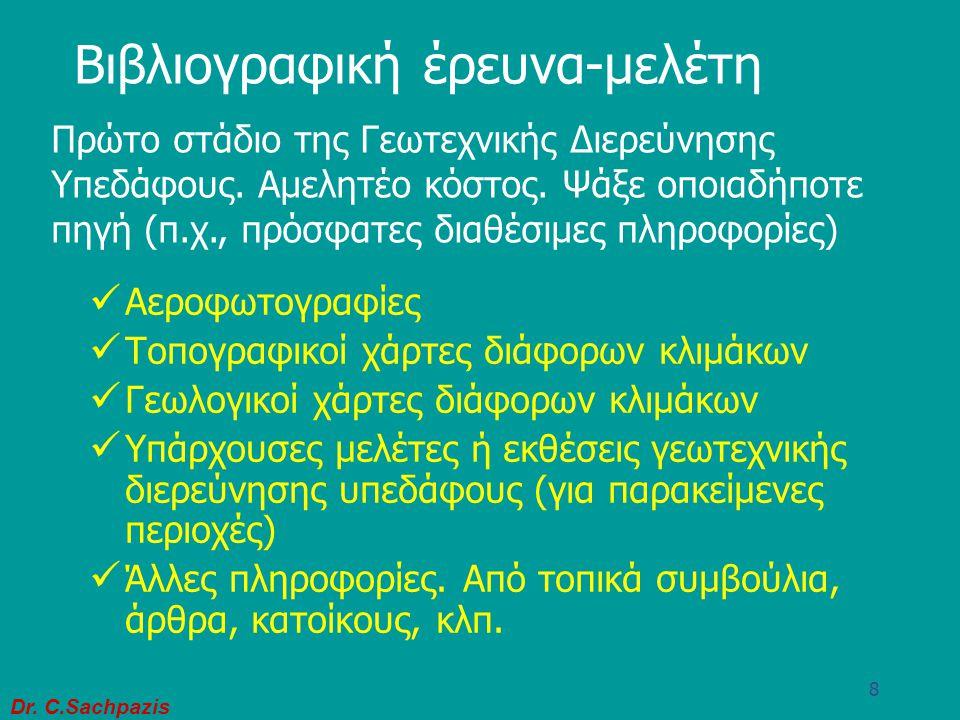 Dr. C.Sachpazis 7 Απαιτούμενα Εδαφικά Στοιχεία:  Εδαφικό Προφίλ  Ιδιότητες κατάταξης εδάφους  Χαρακτηριστικά Αντοχής & παραμορφωσιμότητας  Άλλα στ