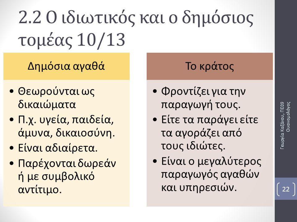Γεωργία Καζάκου, ΠΕ09 Οικονομολόγος 22 Δημόσια αγαθά Θεωρούνται ως δικαιώματα Π.χ. υγεία, παιδεία, άμυνα, δικαιοσύνη. Είναι αδιαίρετα. Παρέχονται δωρε