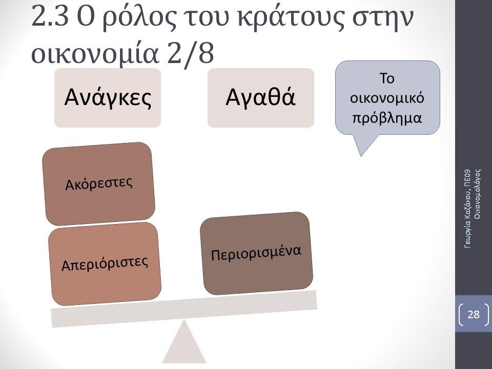 Γεωργία Καζάκου, ΠΕ09 Οικονομολόγος 28 2.3 Ο ρόλος του κράτους στην οικονομία 2/8 ΑνάγκεςΑγαθά ΑπεριόριστεςΑκόρεστεςΠεριορισμένα Το οικονομικό πρόβλημ