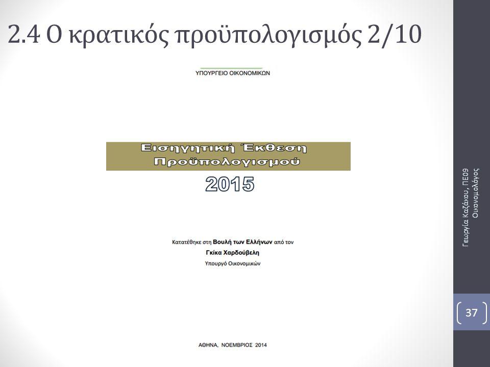 Γεωργία Καζάκου, ΠΕ09 Οικονομολόγος 37 2.4 Ο κρατικός προϋπολογισμός 2/10