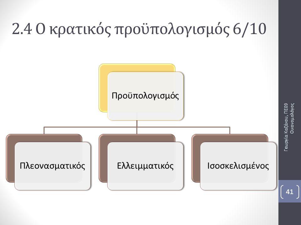 ΠροϋπολογισμόςΠλεονασματικόςΕλλειμματικόςΙσοσκελισμένος Γεωργία Καζάκου, ΠΕ09 Οικονομολόγος 41 2.4 Ο κρατικός προϋπολογισμός 6/10