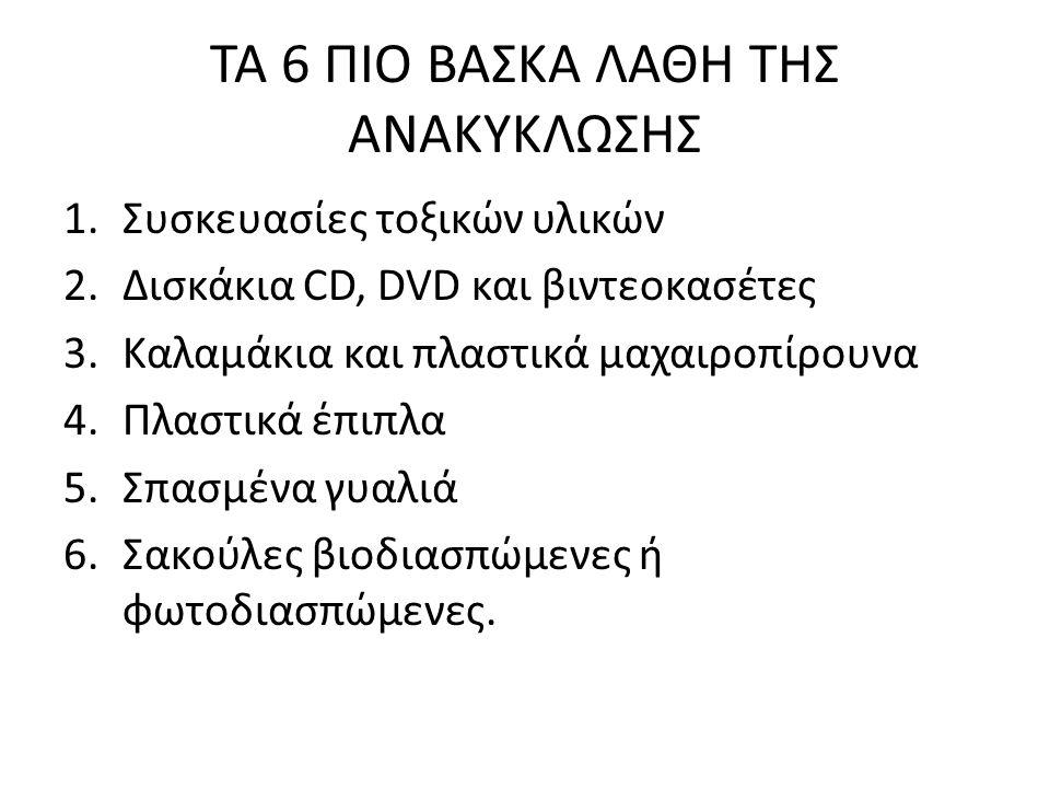 ΤΑ 6 ΠΙΟ ΒΑΣΚΑ ΛΑΘΗ ΤΗΣ ΑΝΑΚΥΚΛΩΣΗΣ 1.Συσκευασίες τοξικών υλικών 2.Δισκάκια CD, DVD και βιντεοκασέτες 3.Καλαμάκια και πλαστικά μαχαιροπίρουνα 4.Πλαστι
