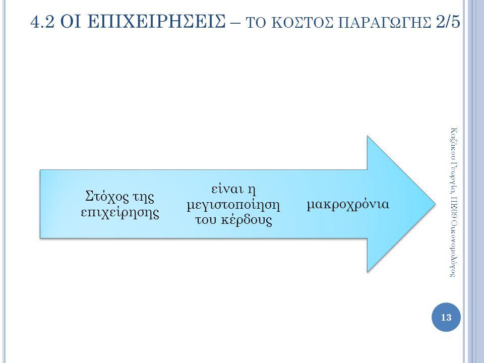 μακροχρόνια είναι η μεγιστοποίηση του κέρδους Στόχος της επιχείρησης 13 4.2 ΟΙ ΕΠΙΧΕΙΡΗΣΕΙΣ – ΤΟ ΚΟΣΤΟΣ ΠΑΡΑΓΩΓΗΣ 2/5 Καζάκου Γεωργία, ΠΕ09 Οικονομολό