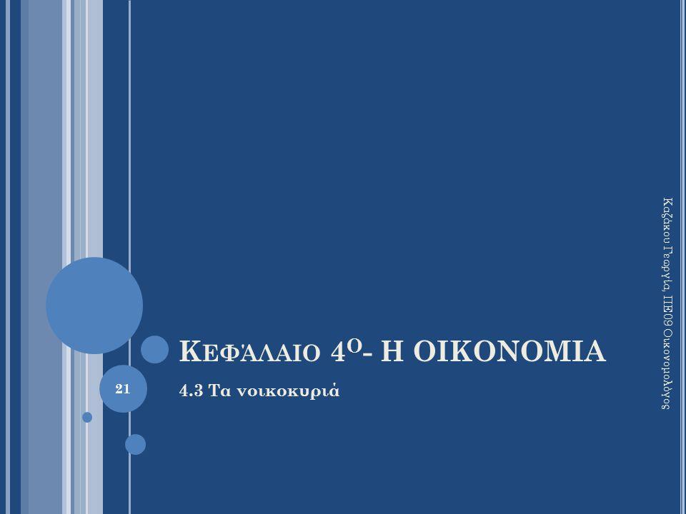 Κ ΕΦΆΛΑΙΟ 4 Ο - Η ΟΙΚΟΝΟΜΙΑ 4.3 Τα νοικοκυριά 21 Καζάκου Γεωργία, ΠΕ09 Οικονομολόγος