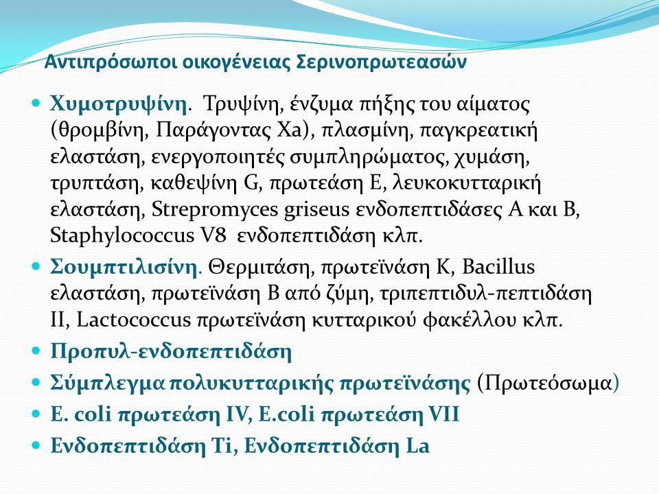 Αντιπρόσωποι οικογένειας Σερινοπρωτεασών Χυμοτρυψίνη. Τρυψίνη, ένζυμα πήξης του αίματος (θρομβίνη, Παράγοντας Xa), πλασμίνη, παγκρεατική ελαστάση, ενε