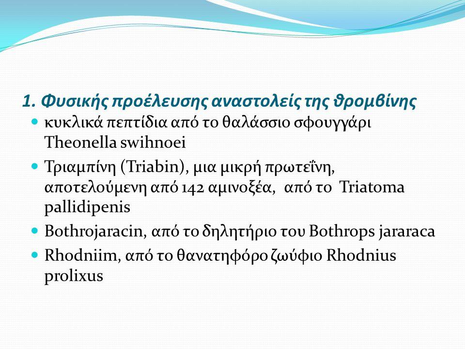 1. Φυσικής προέλευσης αναστολείς της θρομβίνης κυκλικά πεπτίδια από το θαλάσσιο σφουγγάρι Theonella swihnoei Τριαμπίνη (Triabin), μια μικρή πρωτεΐνη,