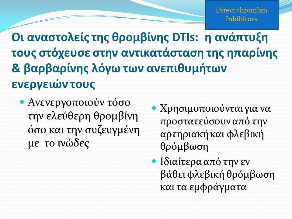 Οι αναστολείς της θρομβίνης DTIs: η ανάπτυξη τους στόχευσε στην αντικατάσταση της ηπαρίνης & βαρβαρίνης λόγω των ανεπιθυμήτων ενεργειών τους Ανενεργοπ
