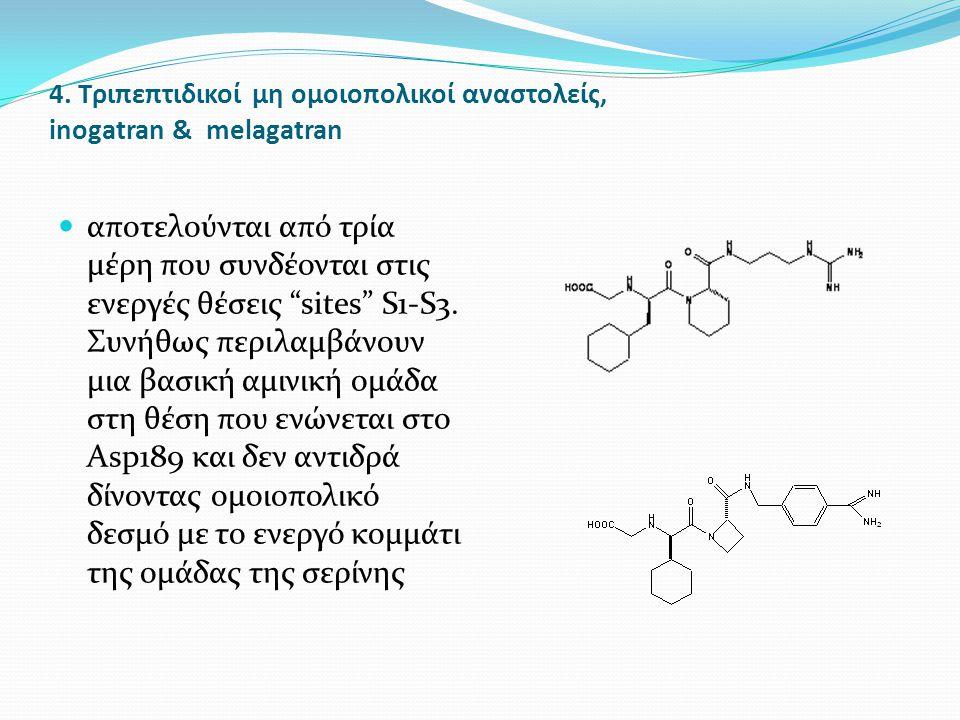 """4. Τριπεπτιδικοί μη ομοιοπολικοί αναστολείς, inogatran & melagatran αποτελούνται από τρία μέρη που συνδέονται στις ενεργές θέσεις """"sites"""" S1-S3. Συνήθ"""