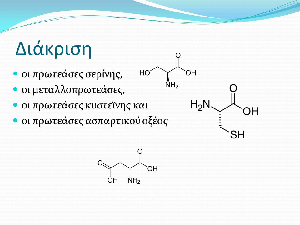 Διάκριση οι πρωτεάσες σερίνης, οι μεταλλοπρωτεάσες, οι πρωτεάσες κυστεϊνης και οι πρωτεάσες ασπαρτικού οξέος