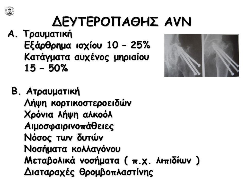 ΔΕΥΤΕΡΟΠΑΘΗΣ AVN Α. Τραυματική Εξάρθρημα ισχίου 10 – 25% Εξάρθρημα ισχίου 10 – 25% Κατάγματα αυχένος μηριαίου Κατάγματα αυχένος μηριαίου 15 – 50% 15 –