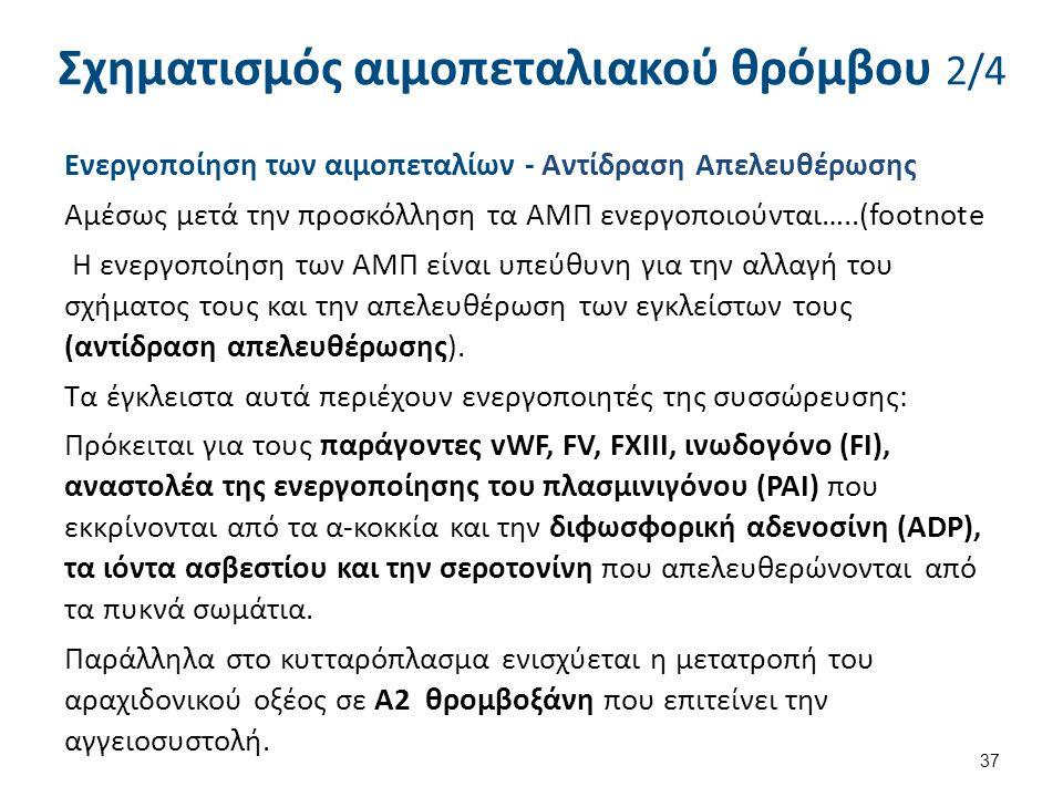 Ενεργοποίηση των αιμοπεταλίων - Αντίδραση Απελευθέρωσης Αμέσως μετά την προσκόλληση τα ΑΜΠ ενεργοποιούνται…..(footnote Η ενεργοποίηση των ΑΜΠ είναι υπ