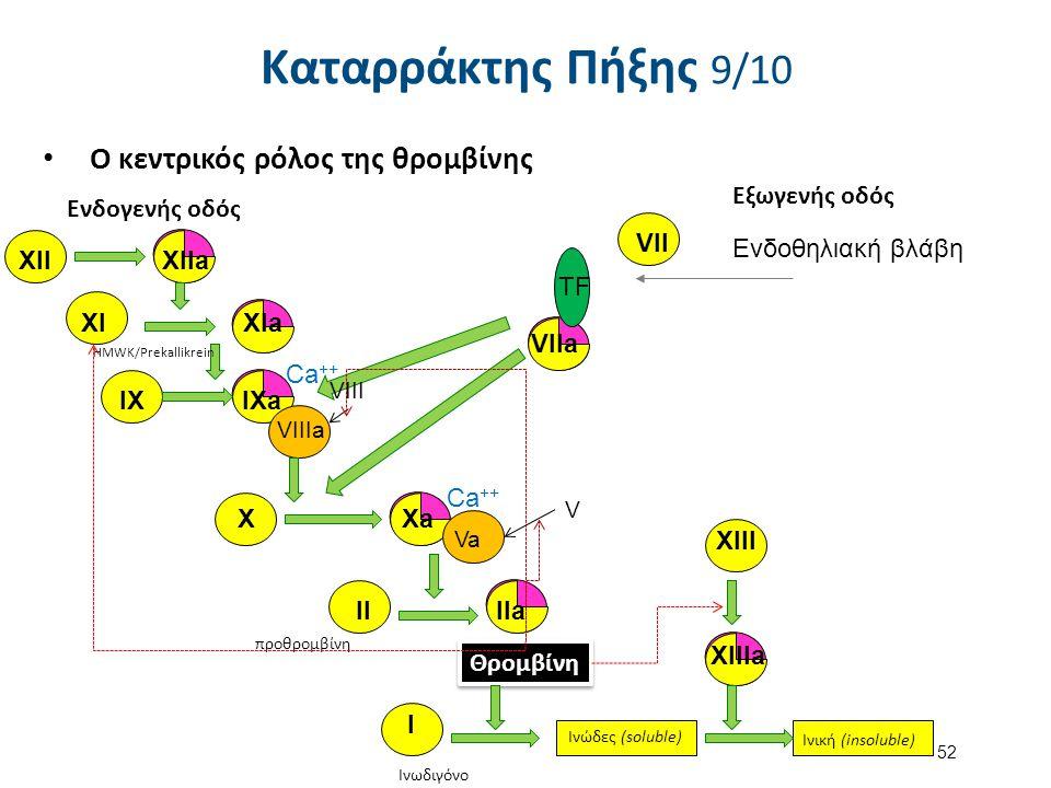 VIIa Ο κεντρικός ρόλος της θρομβίνης XIIXIIa XIaXI IX IXa VIIIa X Xa Va HMWK/Prekallikrein προθρομβίνη Θρομβίνη XIII XIIIa Ινωδιγόνο Ινώδες (soluble)