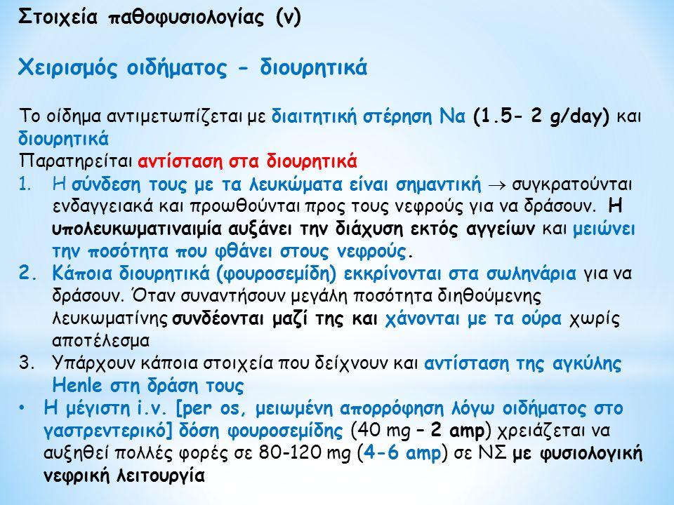 Στοιχεία παθοφυσιολογίας (v) Χειρισμός οιδήματος - διουρητικά Το οίδημα αντιμετωπίζεται με διαιτητική στέρηση Να (1.5- 2 g/day) και διουρητικά Παρατηρ