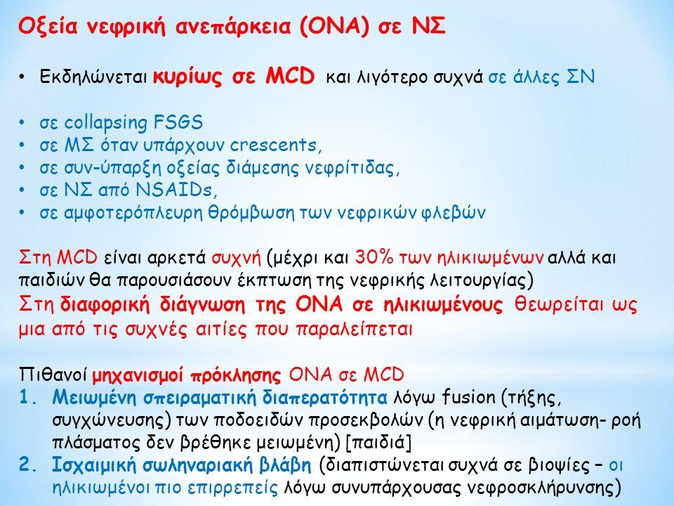 Οξεία νεφρική ανεπάρκεια (ΟΝΑ) σε ΝΣ Εκδηλώνεται κυρίως σε MCD και λιγότερο συχνά σε άλλες ΣΝ σε collapsing FSGS σε ΜΣ όταν υπάρχουν crescents, σε συν