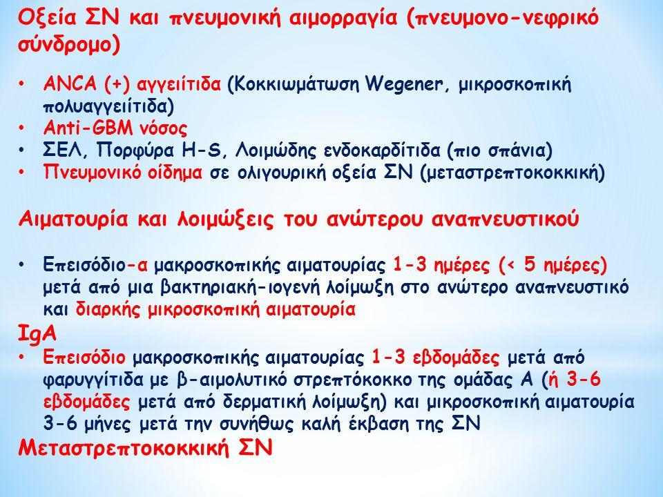Οξεία ΣΝ και πνευμονική αιμορραγία (πνευμονο-νεφρικό σύνδρομο) ANCA (+) αγγειίτιδα (Κοκκιωμάτωση Wegener, μικροσκοπική πολυαγγειίτιδα) Anti-GBM νόσος