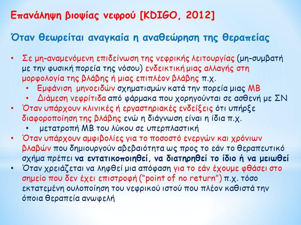 Επανάληψη βιοψίας νεφρού [KDIGO, 2012] Όταν θεωρείται αναγκαία η αναθεώρηση της θεραπείας Σε μη-αναμενόμενη επιδείνωση της νεφρικής λειτουργίας (μη-συ