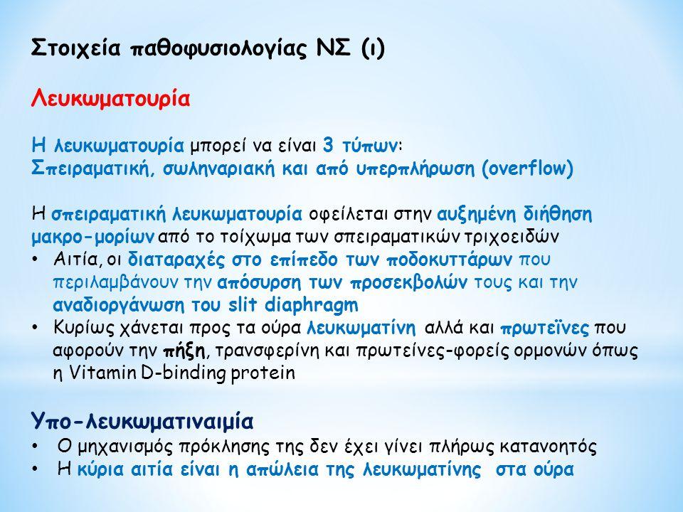Στοιχεία παθοφυσιολογίας ΝΣ (ι) Λευκωματουρία Η λευκωματουρία μπορεί να είναι 3 τύπων: Σπειραματική, σωληναριακή και από υπερπλήρωση (overflow) H σπει