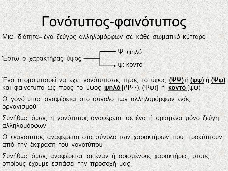 Γονότυπος-φαινότυπος Μια ιδιότητα= ένα ζεύγος αλληλομόρφων σε κάθε σωματικό κύτταρο Έστω ο χαρακτήρας ύψος Ένα άτομο μπορεί να έχει γονότυπο ως προς το ύψος (ΨΨ) ή (ψψ) ή (Ψψ) και φαινότυπο ως προς το ύψος ψηλό [(ΨΨ), (Ψψ)] ή κοντό (ψψ) Ο γονότυπος αναφέρεται στο σύνολο των αλληλομόρφων ενός οργανισμού Συνήθως όμως η γονότυπος αναφέρεται σε ένα ή ορισμένα μόνο ζεύγη αλληλομόρφων Ο φαινότυπος αναφέρεται στο σύνολο των χαρακτήρων που προκύπτουν από την έκφραση του γονοτύπου Συνήθως όμως αναφέρεται σε έναν ή ορισμένους χαρακτήρες, στους οποίους έχουμε εστιάσει την προσοχή μας Ψ: ψηλό ψ: κοντό
