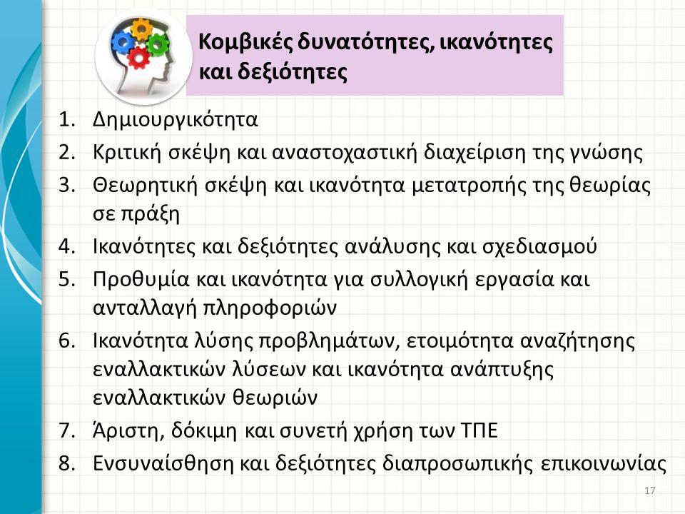 1.Δημιουργικότητα 2.Κριτική σκέψη και αναστοχαστική διαχείριση της γνώσης 3.Θεωρητική σκέψη και ικανότητα μετατροπής της θεωρίας σε πράξη 4.Ικανότητες