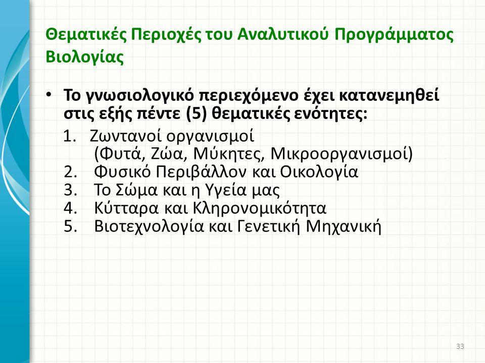 Θεματικές Περιοχές του Αναλυτικού Προγράμματος Βιολογίας Το γνωσιολογικό περιεχόμενο έχει κατανεμηθεί στις εξής πέντε (5) θεματικές ενότητες: 1. Ζωντα
