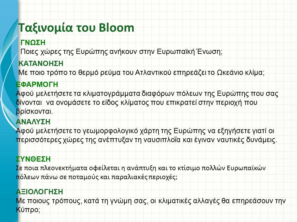 Ταξινομία του Bloom ΓΝΩΣΗ Ποιες χώρες της Ευρώπης ανήκουν στην Ευρωπαϊκή Ένωση; ΑΝΑΛΥΣΗ Αφού μελετήσετε το γεωμορφολογικό χάρτη της Ευρώπης να εξηγήσε