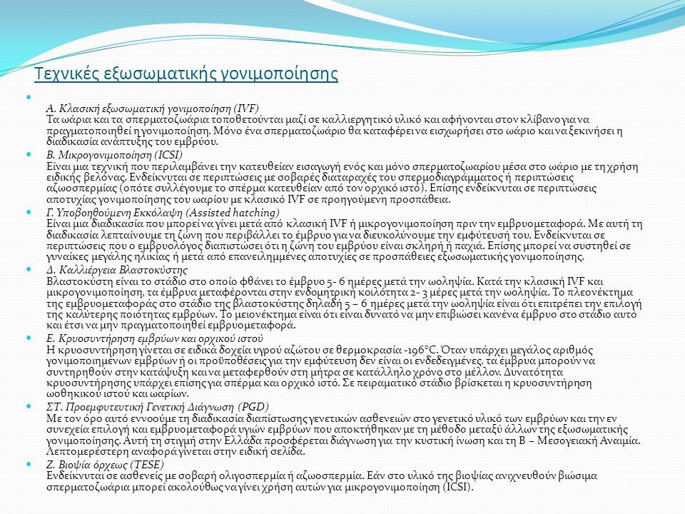 Τεχνικές εξωσωματικής γονιμοποίησης Α. Κλασική εξωσωματική γονιμοποίηση (IVF) Τα ωάρια και τα σπερματοζωάρια τοποθετούνται μαζί σε καλλιεργητικό υλικό