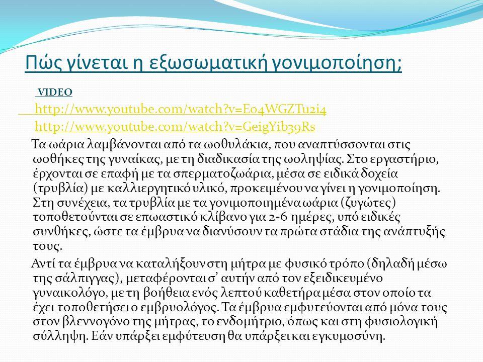 Πώς γίνεται η εξωσωματική γονιμοποίηση; VIDEO http://www.youtube.com/watch?v=Eo4WGZTu2i4 http://www.youtube.com/watch?v=GeigYib39Rs Τα ωάρια λαμβάνοντ