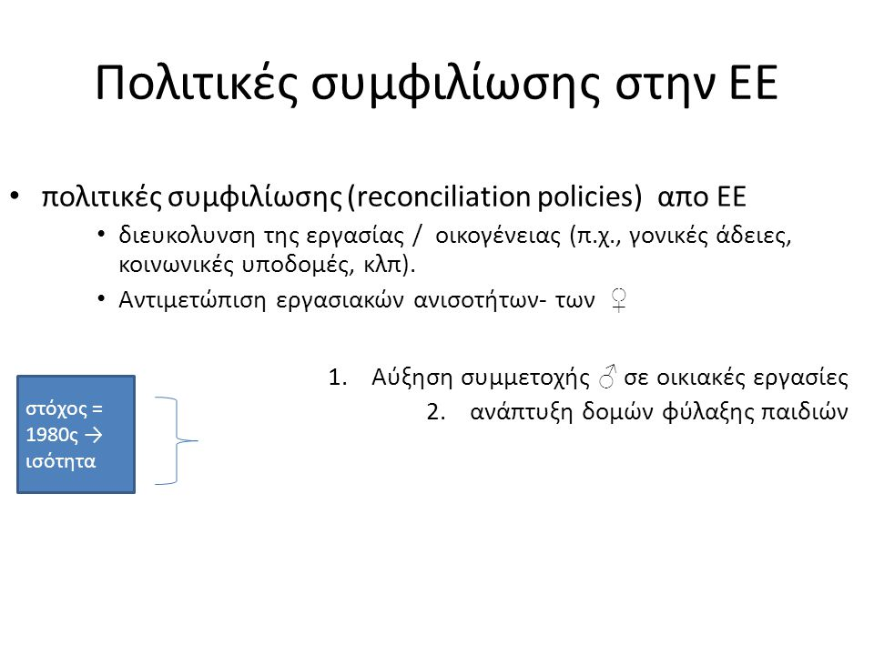 Πολιτικές συμφιλίωσης στην ΕΕ πολιτικές συμφιλίωσης (reconciliation policies) απο ΕΕ διευκολυνση της εργασίας / οικογένειας (π.χ., γονικές άδειες, κοινωνικές υποδομές, κλπ).