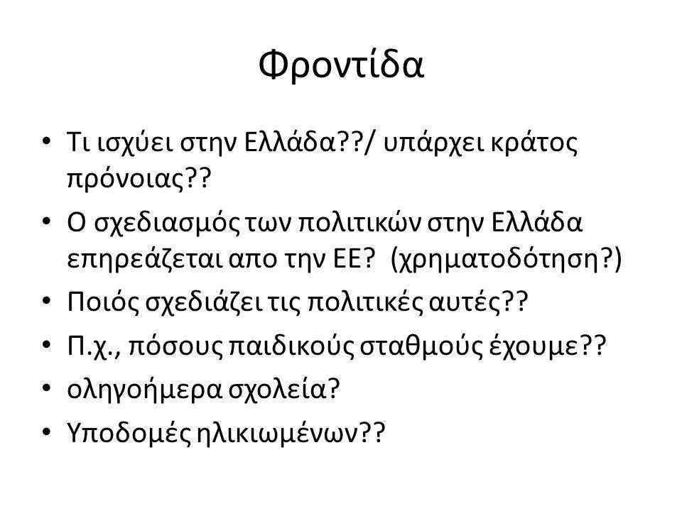 Φροντίδα Τι ισχύει στην Ελλάδα??/ υπάρχει κράτος πρόνοιας?.
