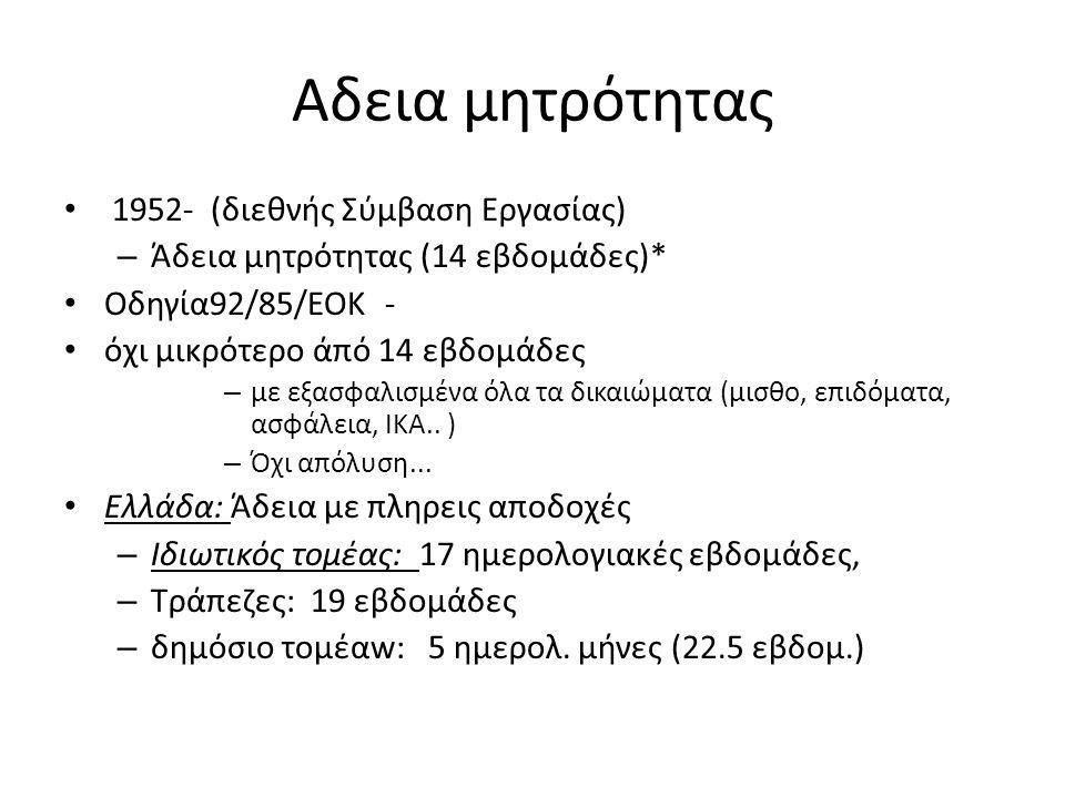 Αδεια μητρότητας 1952- (διεθνής Σύμβαση Εργασίας) – Άδεια μητρότητας (14 εβδομάδες)* Οδηγία92/85/ΕΟΚ - όχι μικρότερο άπό 14 εβδομάδες – με εξασφαλισμένα όλα τα δικαιώματα (μισθο, επιδόματα, ασφάλεια, ΙΚΑ..