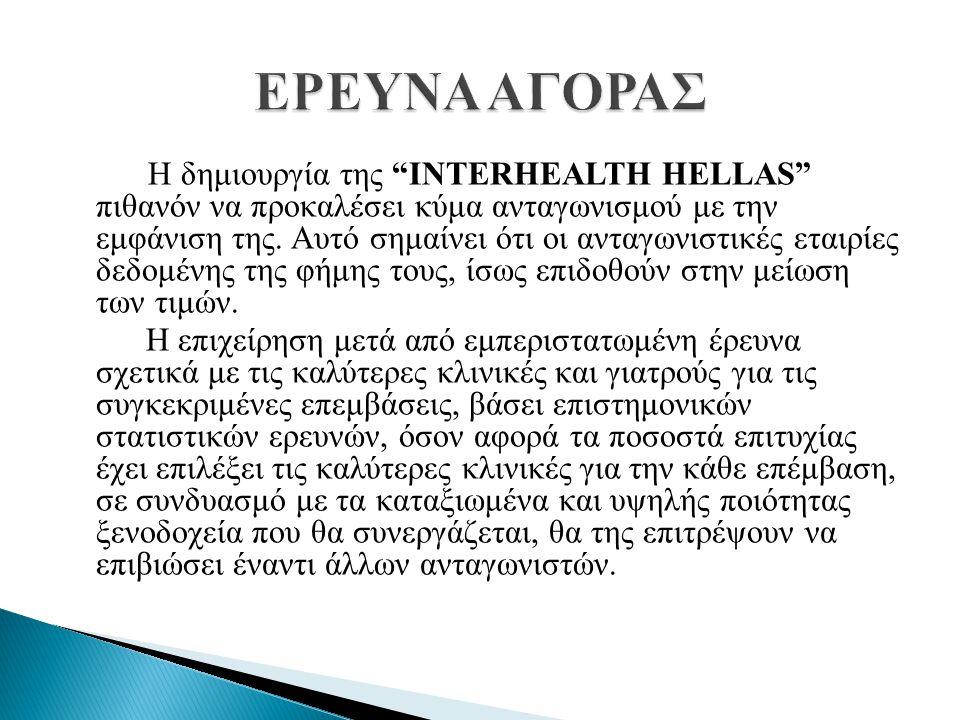 """Η δημιουργία της """"INTERHEALTH HELLAS"""" πιθανόν να προκαλέσει κύμα ανταγωνισμού με την εμφάνιση της. Αυτό σημαίνει ότι οι ανταγωνιστικές εταιρίες δεδομέ"""