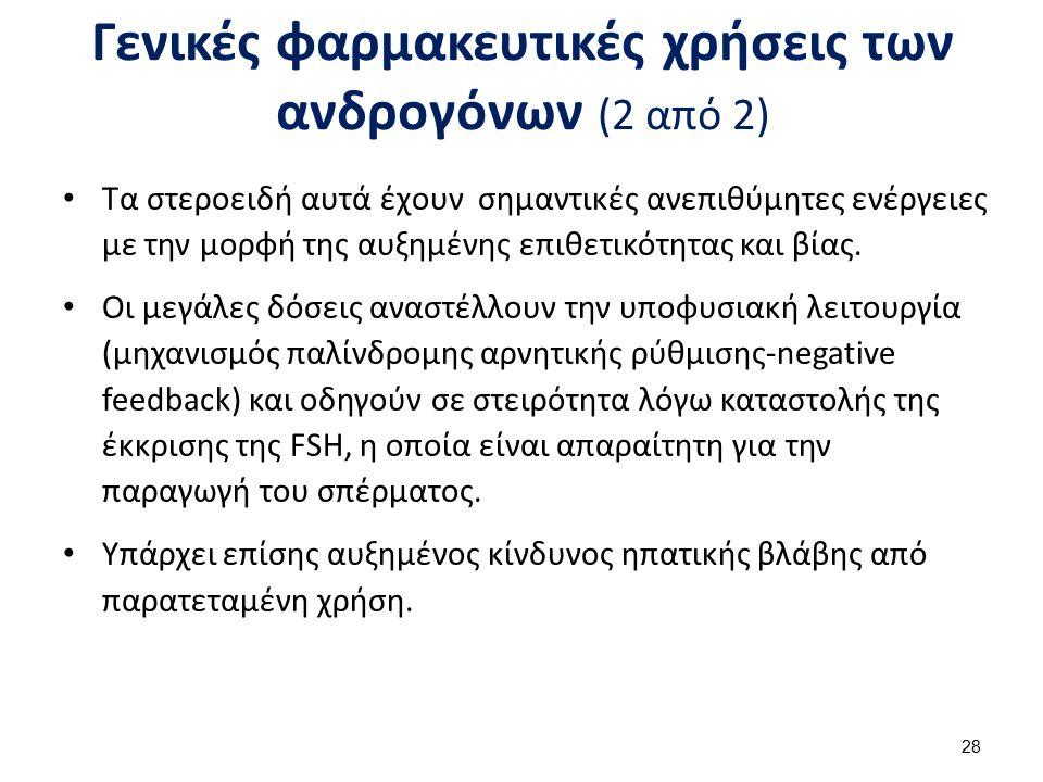 Γενικές φαρμακευτικές χρήσεις των ανδρογόνων (2 από 2) Τα στεροειδή αυτά έχουν σημαντικές ανεπιθύμητες ενέργειες με την μορφή της αυξημένης επιθετικότ