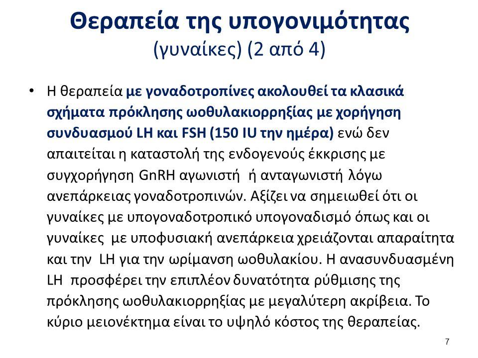 Θεραπεία της υπογονιμότητας (γυναίκες) (2 από 4) Η θεραπεία με γοναδοτροπίνες ακολουθεί τα κλασικά σχήματα πρόκλησης ωοθυλακιορρηξίας με χορήγηση συνδ