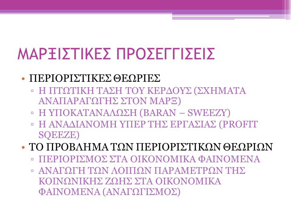 ΜΑΡΞΙΣΤΙΚΕΣ ΠΡΟΣΕΓΓΙΣΕΙΣ ΠΕΡΙΟΡΙΣΤΙΚΕΣ ΘΕΩΡΙΕΣ ▫Η ΠΤΩΤΙΚΗ ΤΑΣΗ ΤΟΥ ΚΕΡΔΟΥΣ (ΣΧΗΜΑΤΑ ΑΝΑΠΑΡΑΓΩΓΗΣ ΣΤΟΝ ΜΑΡΞ) ▫Η ΥΠΟΚΑΤΑΝΑΛΩΣΗ (BARAN – SWEEZY) ▫Η ΑΝΑΔΙ