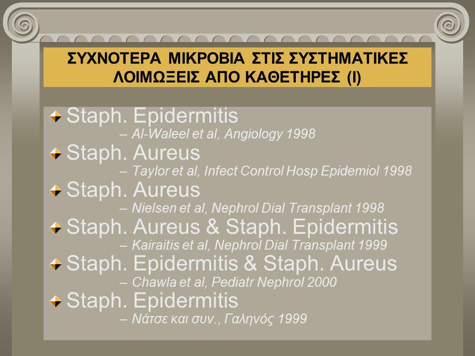 ΣΥΧΝΟΤΕΡΑ ΜΙΚΡΟΒΙΑ ΣΤΙΣ ΣΥΣΤΗΜΑΤΙΚΕΣ ΛΟΙΜΩΞΕΙΣ ΑΠΟ ΚΑΘΕΤΗΡΕΣ (Ι) Staph. Epidermitis –Al-Waleel et al, Angiology 1998 Staph. Aureus –Taylor et al, Infe