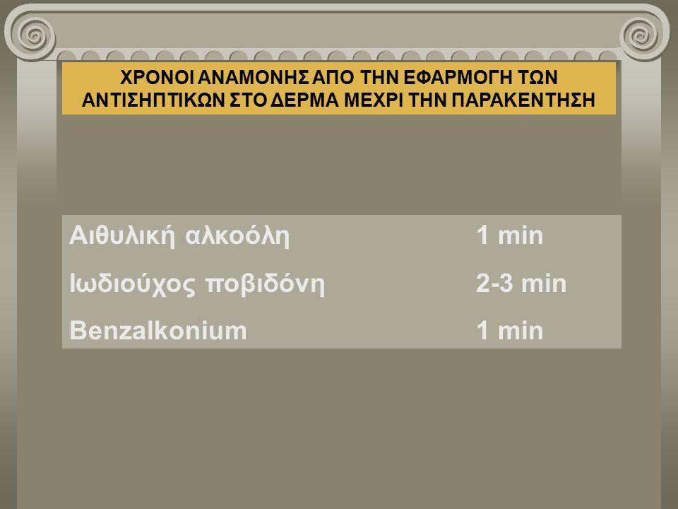 ΧΡΟΝΟΙ ΑΝΑΜΟΝΗΣ AΠΟ ΤΗΝ ΕΦΑΡΜΟΓΗ ΤΩΝ ΑΝΤΙΣΗΠΤΙΚΩΝ ΣΤΟ ΔΕΡΜΑ ΜΕΧΡΙ ΤΗΝ ΠΑΡΑΚΕΝΤΗΣΗ Αιθυλική αλκοόλη1 min Ιωδιούχος ποβιδόνη2-3 min Benzalkonium1 min