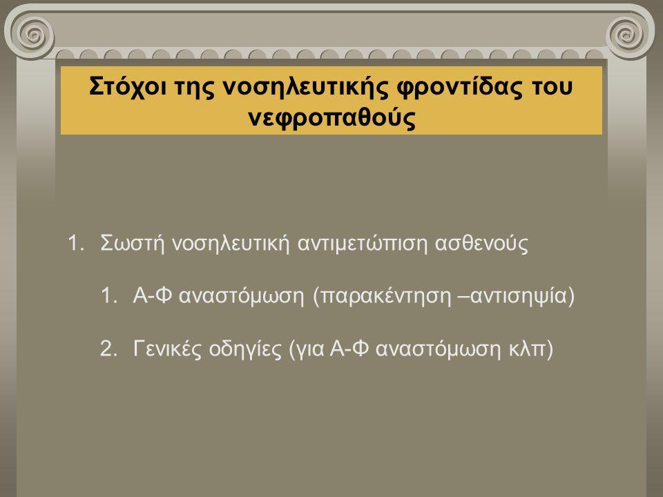 Στόχοι της νοσηλευτικής φροντίδας του νεφροπαθούς 1.Σωστή νοσηλευτική αντιμετώπιση ασθενούς 1.Α-Φ αναστόμωση (παρακέντηση –αντισηψία) 2.Γενικές οδηγίε