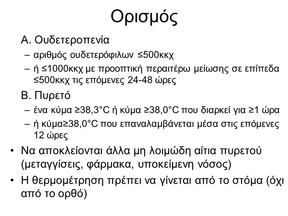 Ορισμός Α. Ουδετεροπενία –αριθμός ουδετερόφιλων ≤500κκχ –ή ≤1000κκχ με προοπτική περαιτέρω μείωσης σε επίπεδα ≤500κκχ τις επόμενες 24-48 ώρες Β. Πυρετ
