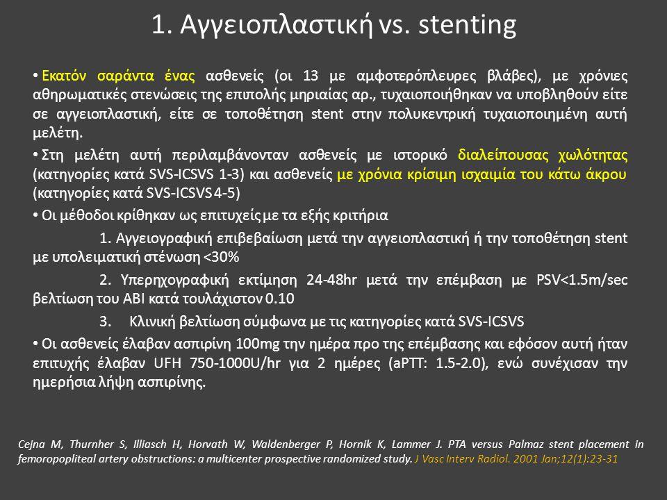 1. Αγγειοπλαστική vs. stenting Εκατόν σαράντα ένας ασθενείς (οι 13 με αμφοτερόπλευρες βλάβες), με χρόνιες αθηρωματικές στενώσεις της επιπολής μηριαίας