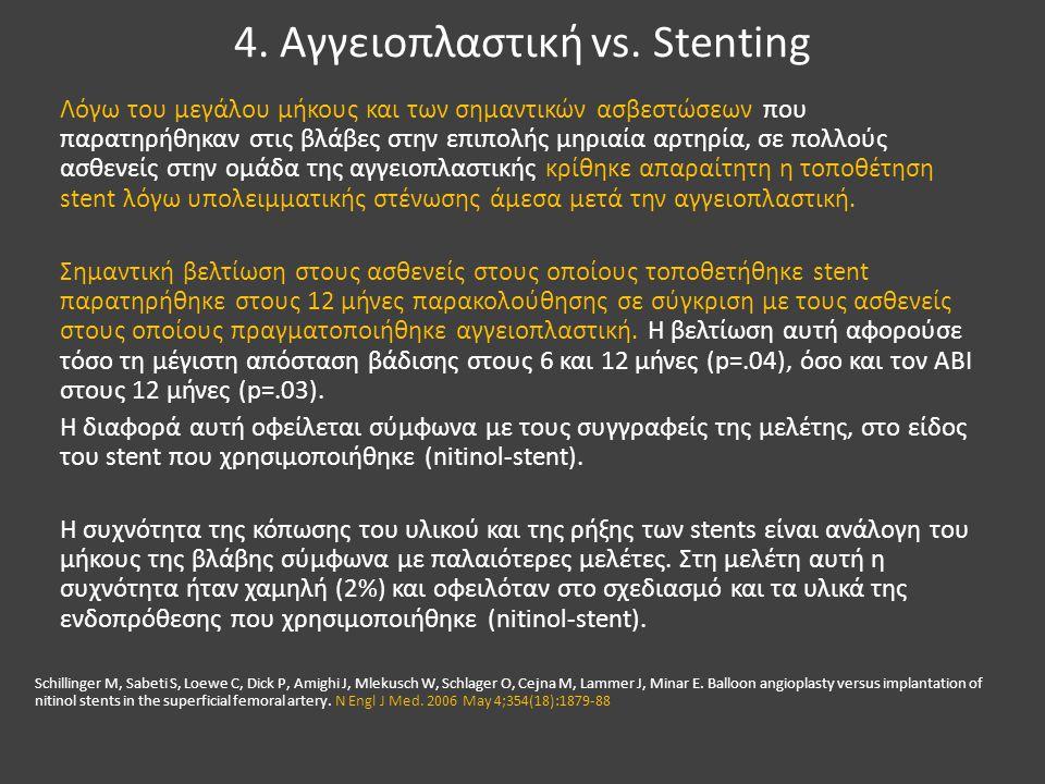 4. Αγγειοπλαστική vs. Stenting Λόγω του μεγάλου μήκους και των σημαντικών ασβεστώσεων που παρατηρήθηκαν στις βλάβες στην επιπολής μηριαία αρτηρία, σε