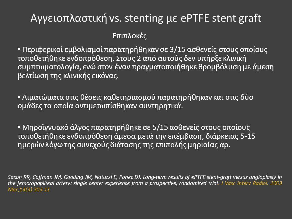 Αγγειοπλαστική vs. stenting με ePTFE stent graft Περιφερικοί εμβολισμοί παρατηρήθηκαν σε 3/15 ασθενείς στους οποίους τοποθετήθηκε ενδοπρόθεση. Στους 2