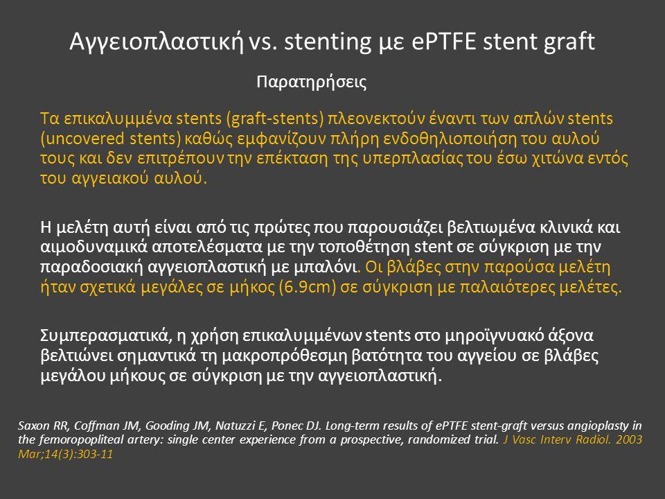 Αγγειοπλαστική vs. stenting με ePTFE stent graft Τα επικαλυμμένα stents (graft-stents) πλεονεκτούν έναντι των απλών stents (uncovered stents) καθώς εμ