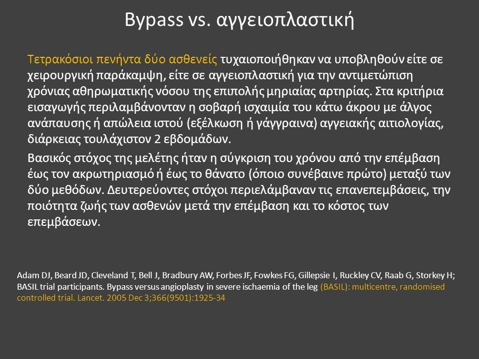 Bypass vs. αγγειοπλαστική Τετρακόσιοι πενήντα δύο ασθενείς τυχαιοποιήθηκαν να υποβληθούν είτε σε χειρουργική παράκαμψη, είτε σε αγγειοπλαστική για την
