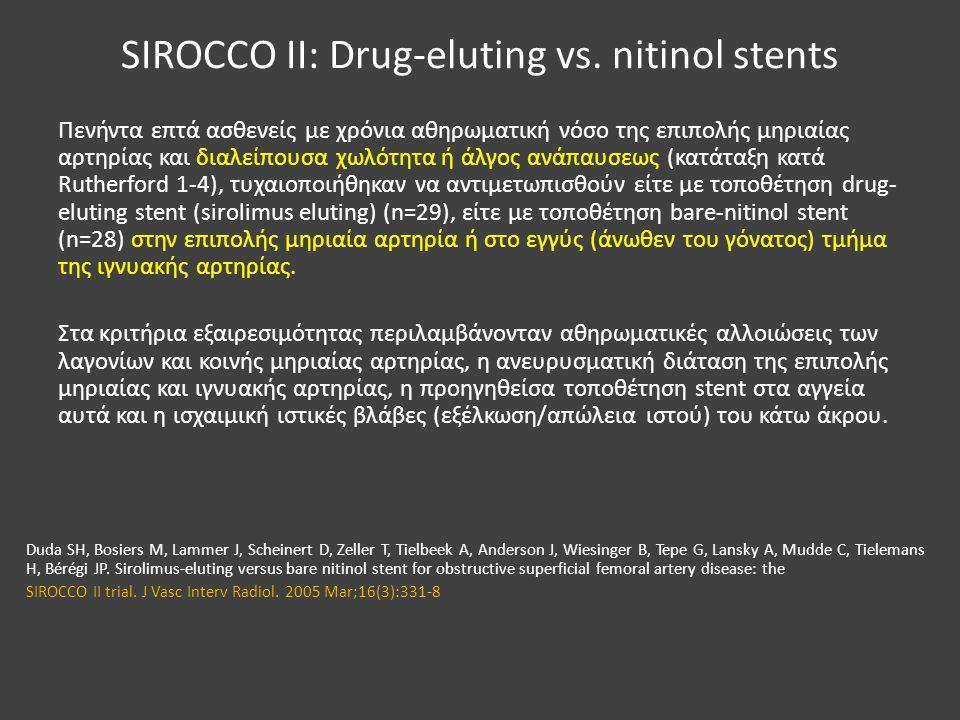 SIROCCO II: Drug-eluting vs. nitinol stents Πενήντα επτά ασθενείς με χρόνια αθηρωματική νόσο της επιπολής μηριαίας αρτηρίας και διαλείπουσα χωλότητα ή