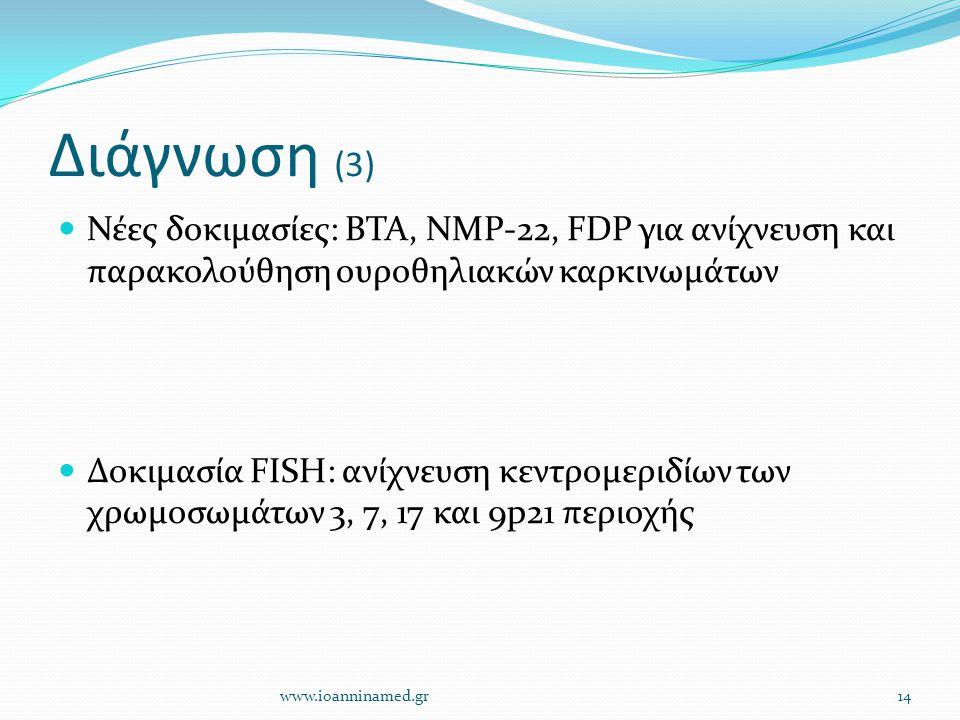 Διάγνωση (3) Νέες δοκιμασίες: BTA, NMP-22, FDP για ανίχνευση και παρακολούθηση ουροθηλιακών καρκινωμάτων Δοκιμασία FISH: ανίχνευση κεντρομεριδίων των