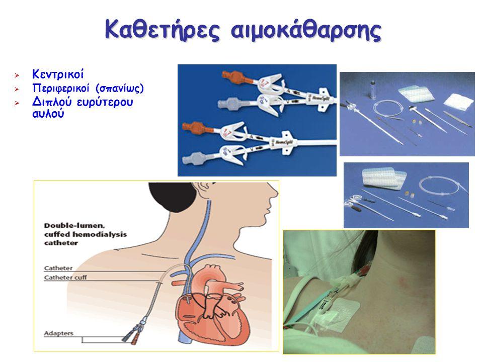 Καθετήρες αιμοκάθαρσης  Κεντρικοί  Περιφερικοί (σπανίως)  Διπλού ευρύτερου αυλού