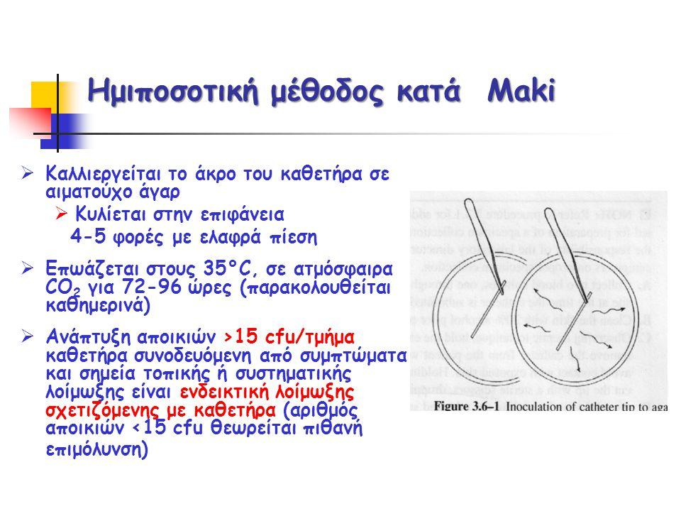 Ημιποσοτική μέθοδος κατά Maki  Καλλιεργείται το άκρο του καθετήρα σε αιματούχο άγαρ  Κυλίεται στην επιφάνεια 4-5 φορές με ελαφρά πίεση  Επωάζεται σ