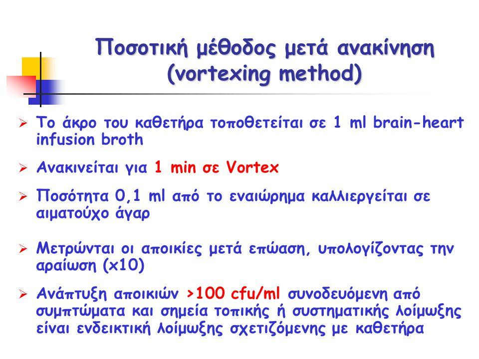 Ποσοτική μέθοδος μετά ανακίνηση (vortexing method)  Το άκρο του καθετήρα τοποθετείται σε 1 ml brain-heart infusion broth  Ανακινείται για 1 min σε V